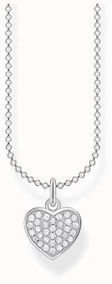 Thomas Sabo Charming | Sterling Silver Pave Heart Pendant Necklace | 36-38cm KE2046-051-14-L45V