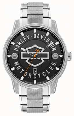 Harley Davidson Men's For Him! | Stainless Steel Bracelet | Black Dial 76B182