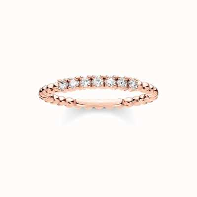 Thomas Sabo Rose Gold White Stone Dot Ring EU 54 (UK N) TR2323-416-14-54