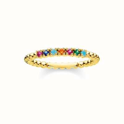 Thomas Sabo Gold Coulourful Stone Dot Ring  EU 54 (UK N) TR2323-488-7-54-