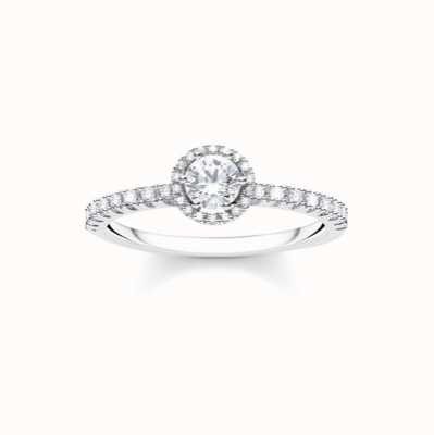 Thomas Sabo Sterling Silver White Stone Ring UK Size N TR2326-051-14-54