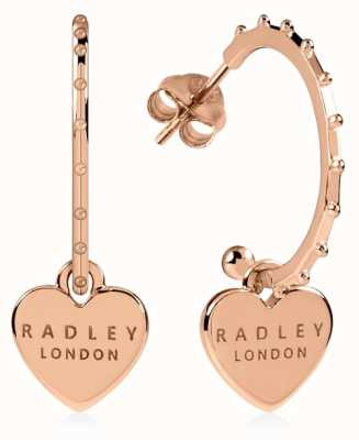 Radley Jewellery Sterling Silver 18ct Rose Gold Plated Heart Huggie Earrings RYJ1130