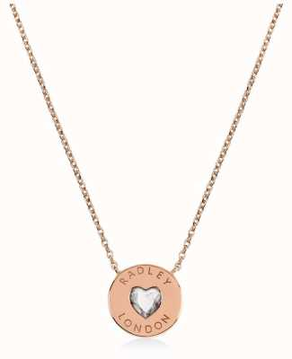 Radley Jewellery Sterling Silver 18ct Rose Gold Heart Disc Necklace RYJ2134