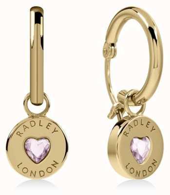 Radley Jewellery Sterling Silver 18ct Gold Plated Heart Disc Huggie Earrings RYJ1136