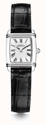 Michel Herbelin Women's Mini Art Deco | Black Leather Strap | White Dial 17438/08