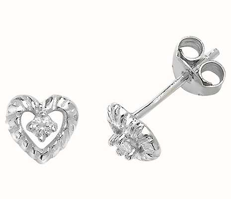 Treasure House Silver Heart Cubic Zirconia Cluster Stud Earrings G51050