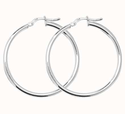Treasure House Silver 30mm Plain Hoop Earrings G5280