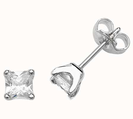 Treasure House Silver Square Cz Studs Earrings G51028