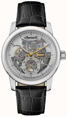 Ingersoll THE BALDWIN Automatic Silver Skeletonized Dial Black Leather Strap I11002