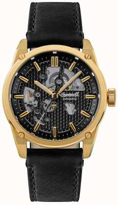 Ingersoll THE CARROLL Automatic Black Skeleton Dial Black Leather Strap I11601