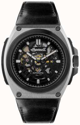Ingersoll THE MOTION Automatic Black Skeleton Dial Black Leather Strap I11702