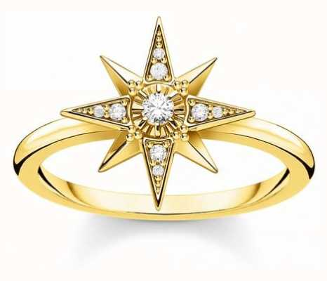 Thomas Sabo 18k Yellow Gold Plated Star Ring | EU 54 (UK N) TR2299-414-14-54
