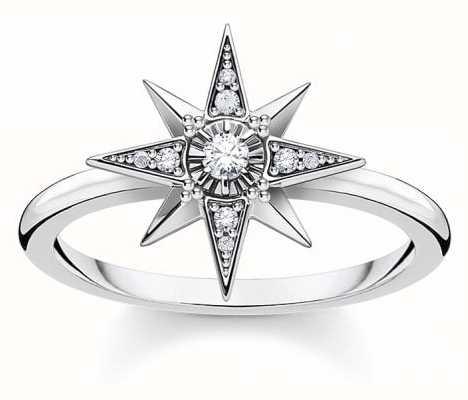 Thomas Sabo Sterling Silver Royalty Star Ring | EU 54 (UK N) TR2299-643-14-54