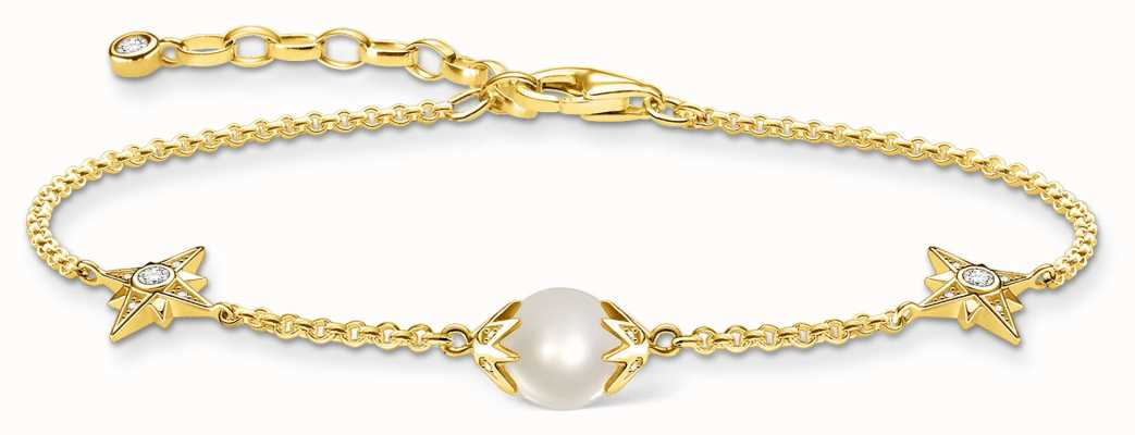 Thomas Sabo 18K Yellow Gold Plated Bracelet | Pearl & Gold Stars A1978-445-14-L19V