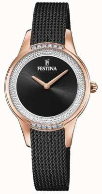 Festina Women's Black Steel Mesh Bracelet | Black Crystal Set Dial F20496/2
