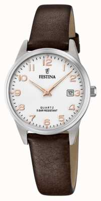 Festina Women's Brown Leather Strap | White Dial F20510/1