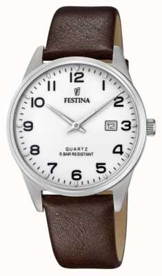 Festina Men's Brown Leather Strap   White Dial F20512/1