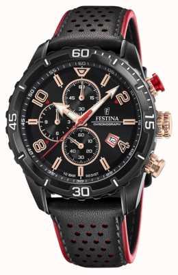 Festina Men's Chronograph | Black Leather Strap | Black Dial F20519/4