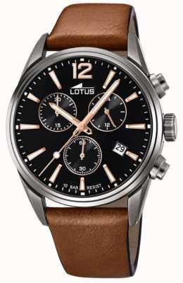 Lotus Men's Brown Leather Strap | Black Chronograph Dial L18683/2