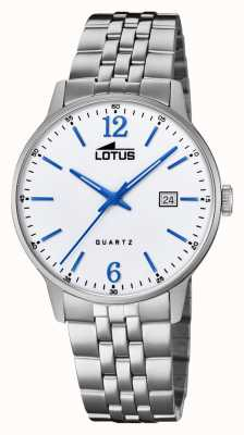 Lotus Men's Stainless Steel Bracelet | Silver Dial | Blue Hands/Markers L18694/2