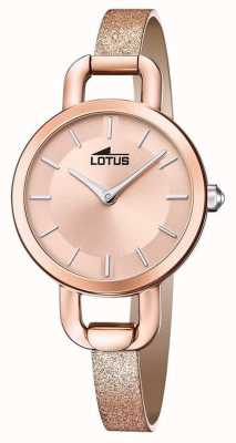 Lotus Women's Glitter Leather Strap | Rose Gold Dial L18747/1