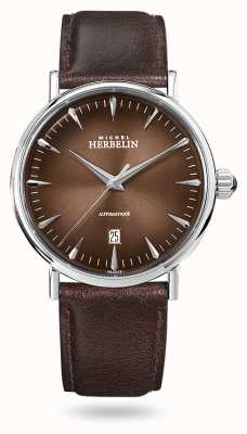 Michel Herbelin Inspiration Automatic | Men's Brown Leather Strap | Brown Dial 1647/AP27