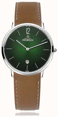 Michel Herbelin City | Men's Brown Leather Strap | Green Dial 19515/16NGO