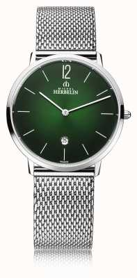 Michel Herbelin City | Men's Steel Mesh Bracelet | Green Dial 19515/16NB