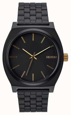 Nixon Time Teller | Matte Black / Gold | Black IP Steel Bracelet | Black Dial A045-1041-00