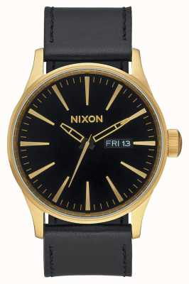 Nixon Sentry Leather | Gold / Black | Black Leather Strap Black Dial A105-513-00