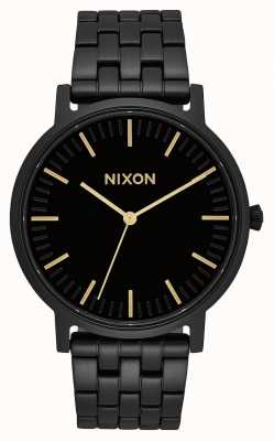 Nixon Porter | All Black / Gold | Black IP Steel Bracelet | Black Dial A1057-1031-00