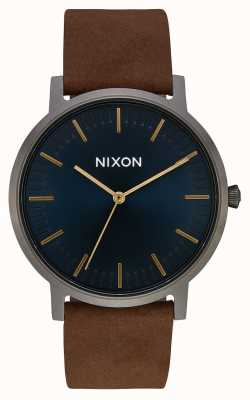 Nixon Porter Leather | Gunmetal / Indigo / Brown | Brown Leather Strap | Indigo Dial A1058-2984-00