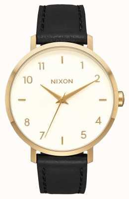 Nixon Arrow Leather | Gold / Cream / Black | Black Leather Strap | Cream Dial A1091-2769-00