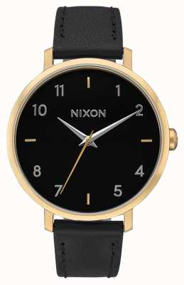 Nixon Arrow Leather | Gold / Black | Black Leather Strap | Black Dial A1091-513-00