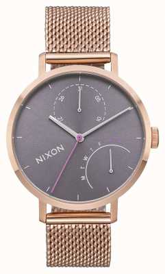 Nixon Clutch | All Rose Gold / Grey | Rose Gold IP Steel Mesh | Grey Dial A1166-2618-00