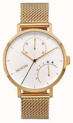 Nixon Clutch | All Gold / White | Gold IP Mesh Bracelet | White Dial A1166-504-00