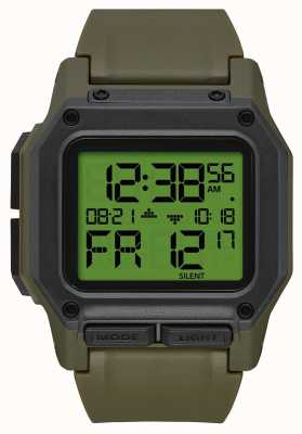 Nixon Regulus | Surplus / Carbon | Digital | Green TPU Strap A1180-3100-00