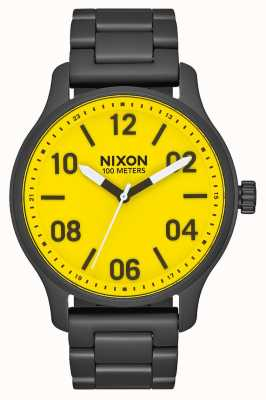 Nixon Patrol | All Black / Yellow | Black IP Steel Bracelet | Yellow Dial A1242-3132-00