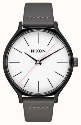 Nixon Clique Leather | Black / Grey | Grey Leather Strap | White Dial A1250-007-00