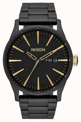 Nixon Sentry SS | Matte Black / Gold | Black IP Steel Bracelet | Black Dial A356-1041-00