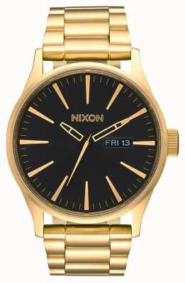 Nixon Sentry SS | All Gold / Black | Gold IP Steel Bracelet | Black Dial A356-510-00