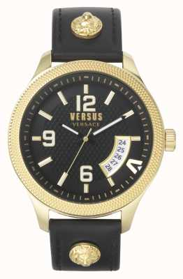 Versus Versace Men's Versus Reale | Black Leather Strap | Black Dial VSPVT0220