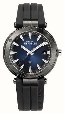 Michel Herbelin Men's Newport | Black Rubber Strap | Blue Dial 12288/G15CA