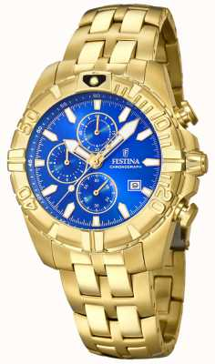 Festina Chrono Sport Gold Plated Blue Dial F20356/2