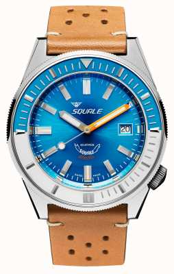 Squale Matic XSE | Steel Blue Dial | Camel Coloured Leather Strap MATICXSE00-CINU1565CM