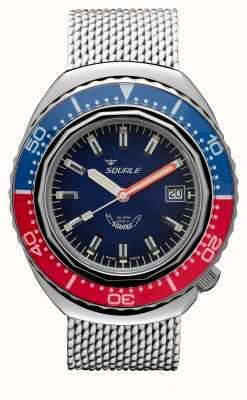 Squale 2002A Blue-Red | Steel Mesh Strap | Blue Dial B083401-CINSS22