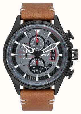 AVI-8 HAWKER HUNTER | Chronograph | Grey Dial | Brown Leather Strap AV-4064-03