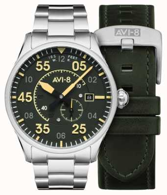 AVI-8 SPITFIRE | Automatic | Green Dial Stainless Steel Bracelet | Extra Leather Strap AV-4073-22