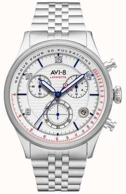 AVI-8 FLYBOY LAFAYETTE | Chronograph | White Dial | Stainless Steel Bracelet AV-4076-11