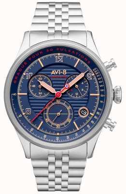 AVI-8 FLYBOY LAFAYETTE | Chronograph | Blue Dial | Stainless Steel Bracelet AV-4076-22